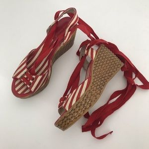 Montego Bay Red & Cream Ankle Tie Wedges 7.5